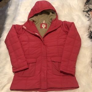 Lands End Girls pink down puffer coat XL